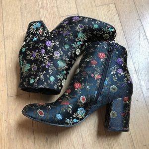 Floral Heeled Booties